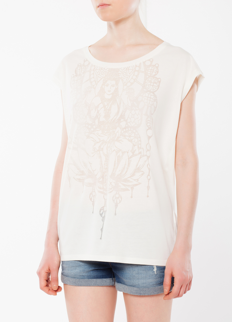 Sleeveless T-shirt with sheer sections image number null