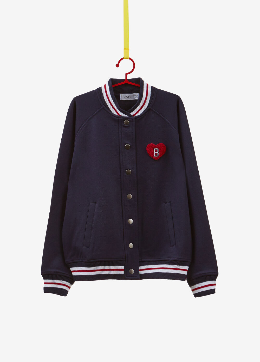 Bomber jacket with striped ribbing and heart patch