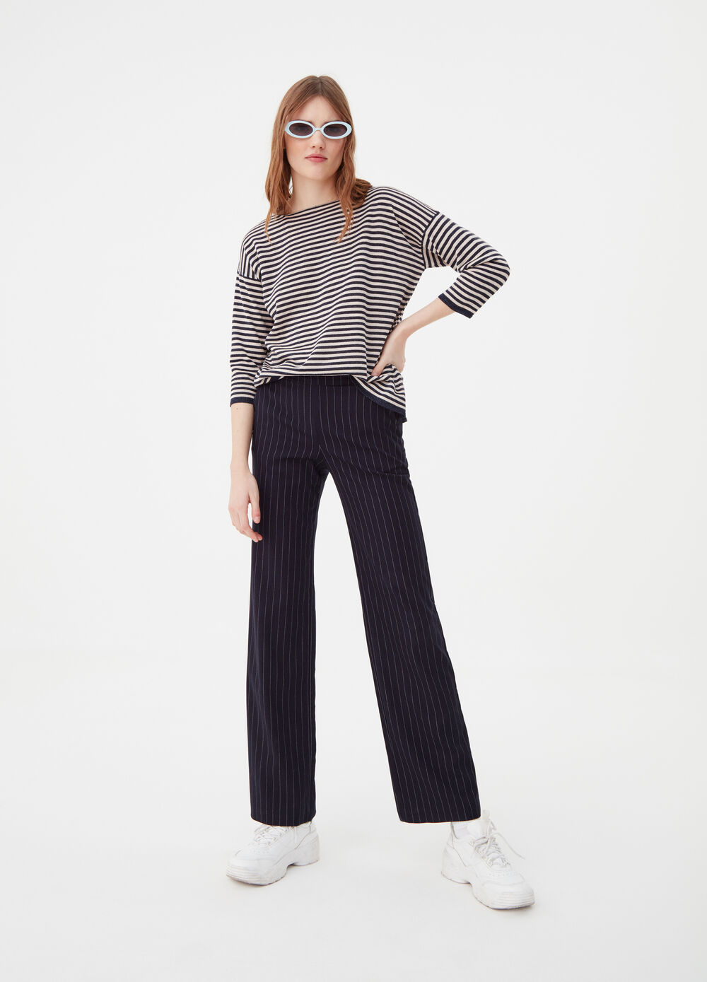Top with lurex yarn and striped pattern