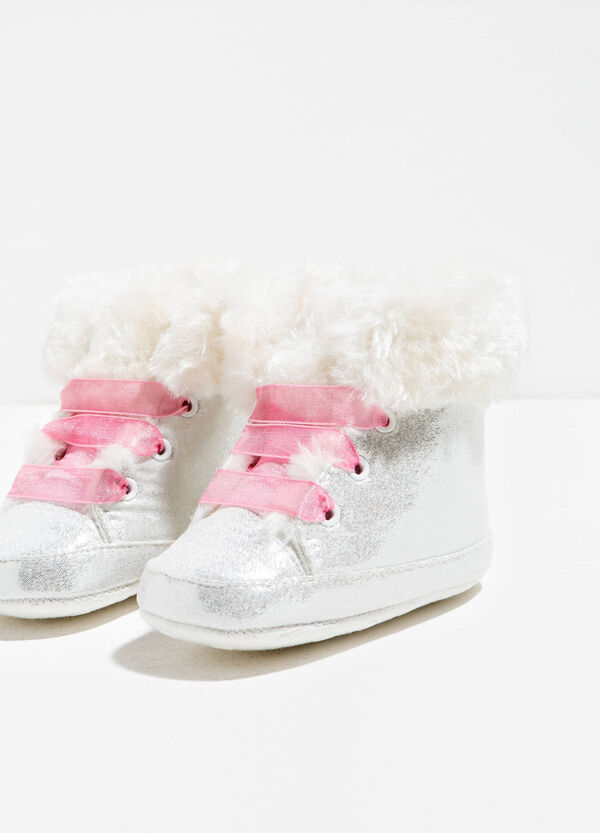 Glitter canvas baby shoes with tulle laces | OVS