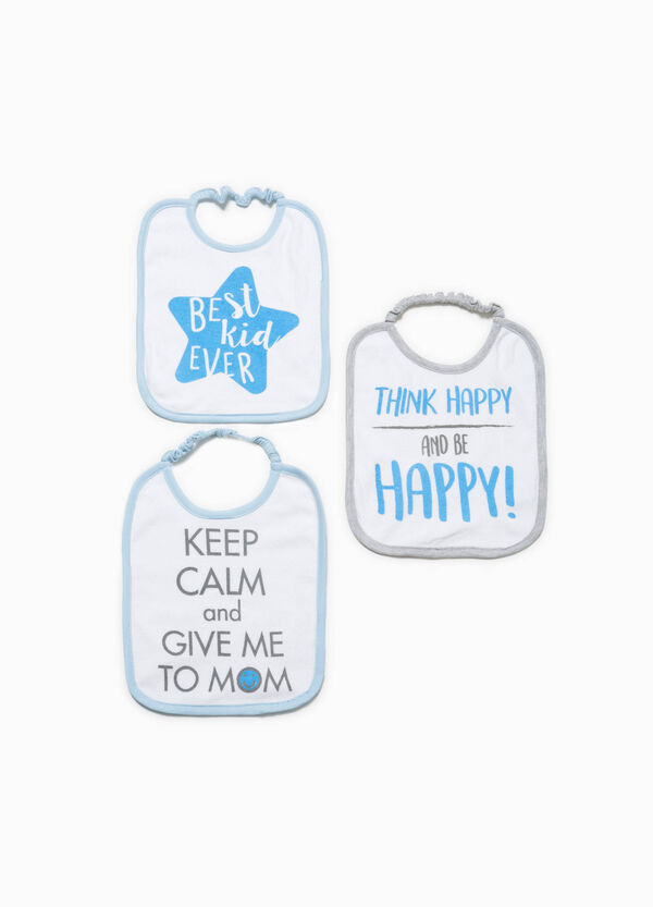 Three-pack cotton bibs with lettering print | OVS