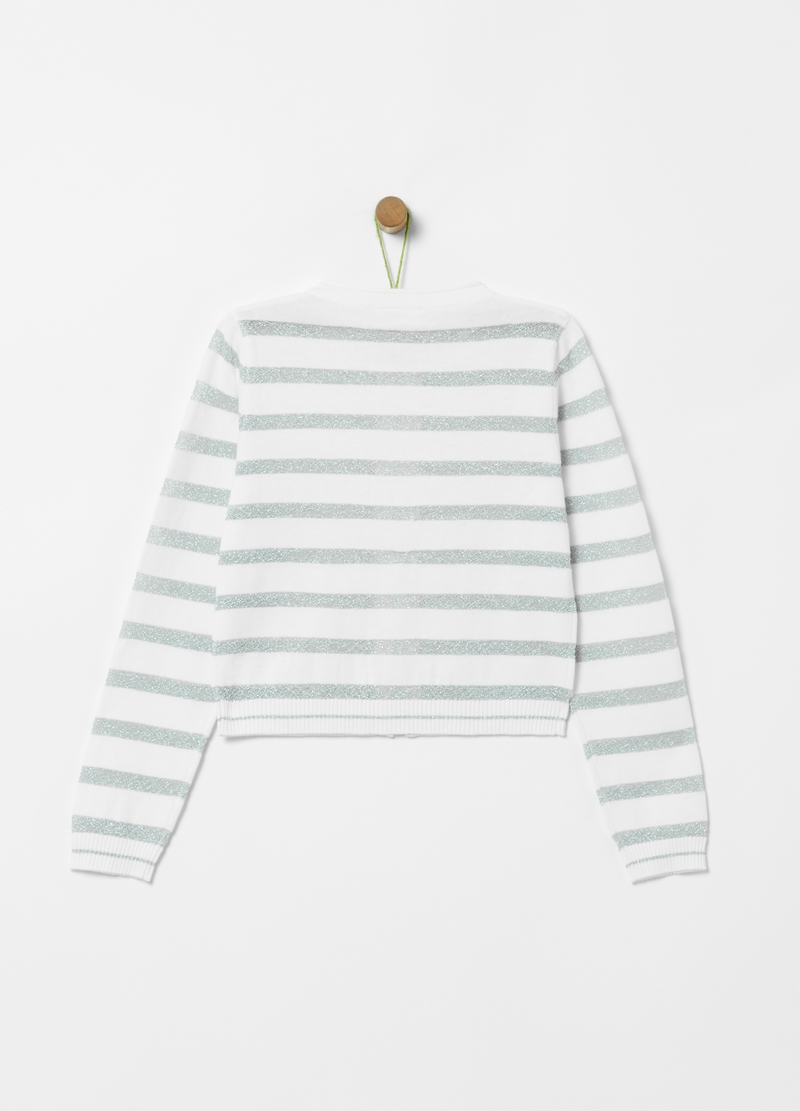 100% cotton cardigan with striped zip image number null