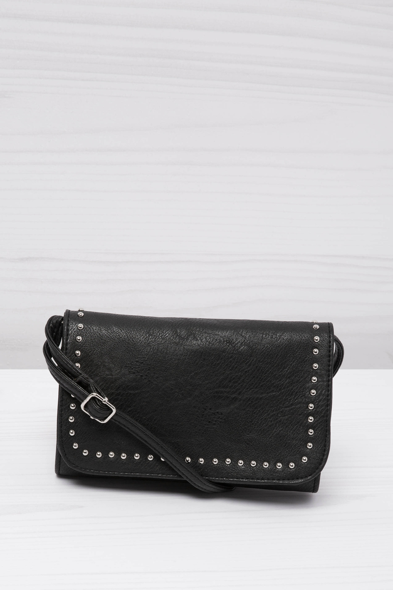 Leather look clutch bag with studs image number null
