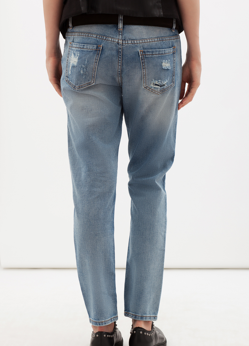 Jeans strappati con patch interne a contrasto image number null