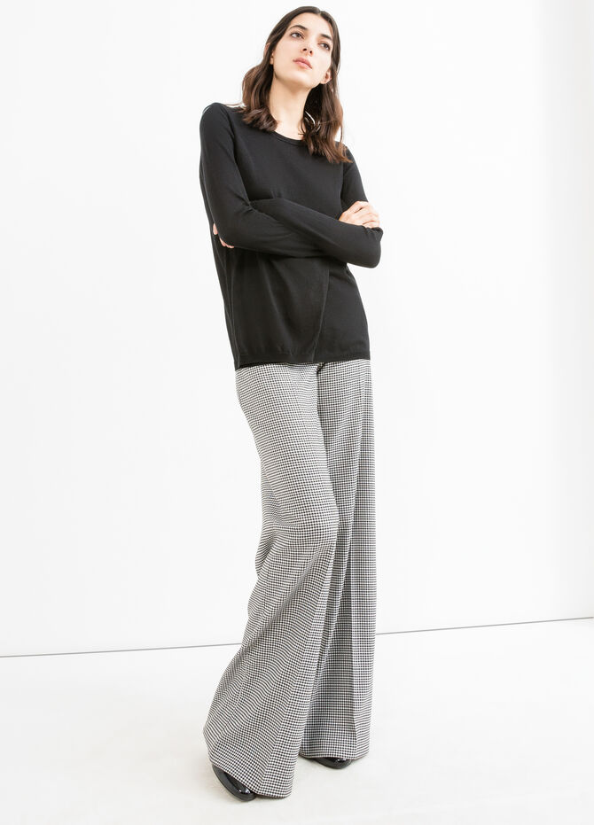 Solid colour cotton-viscose blend pullover