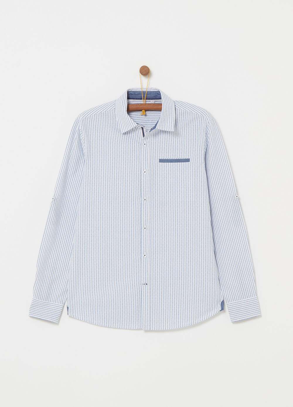 100% textured cotton shirt with stripes