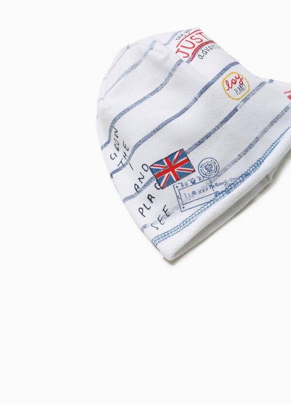 Beanie cap with print and stripes | OVS