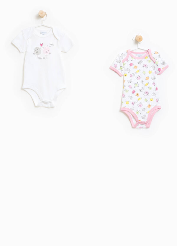 Two-pack organic cotton bodysuits with pattern | OVS