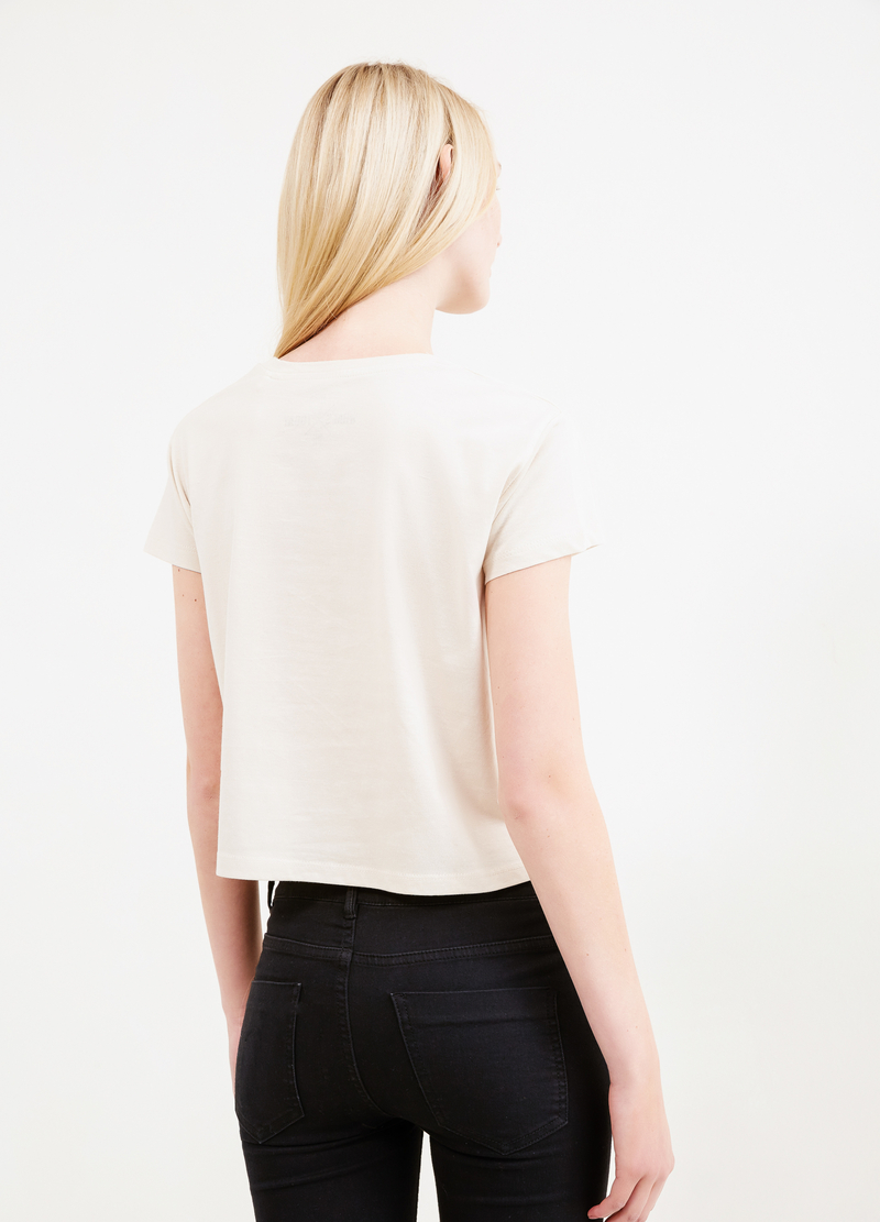 Printesd cropped T-shirt in 100% cotton image number null