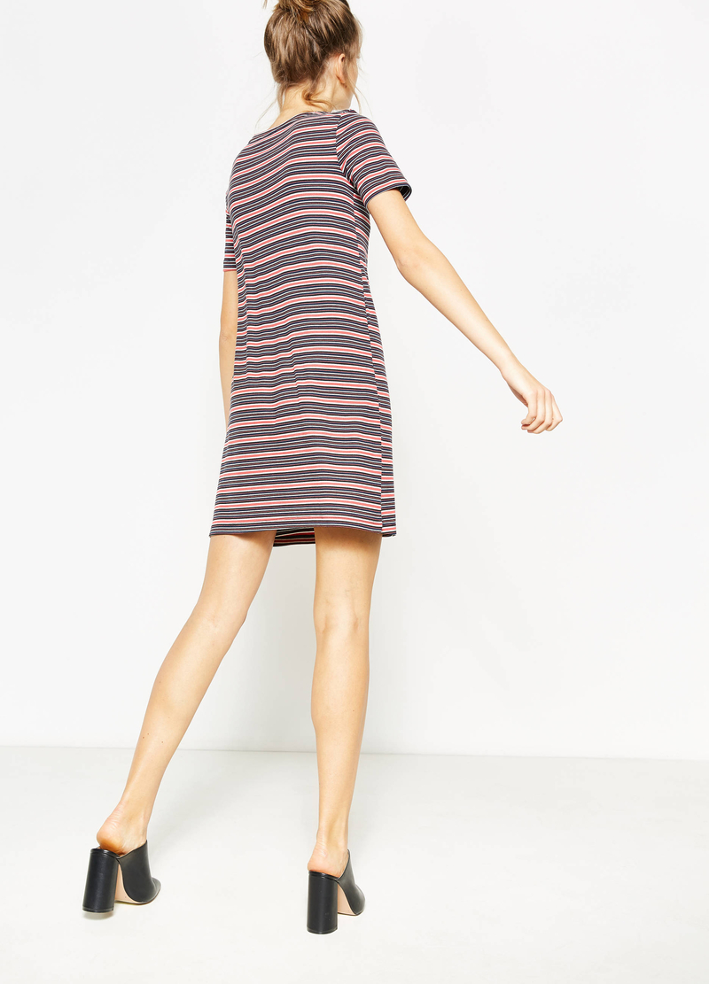 Stretch striped ribbed viscose dress image number null