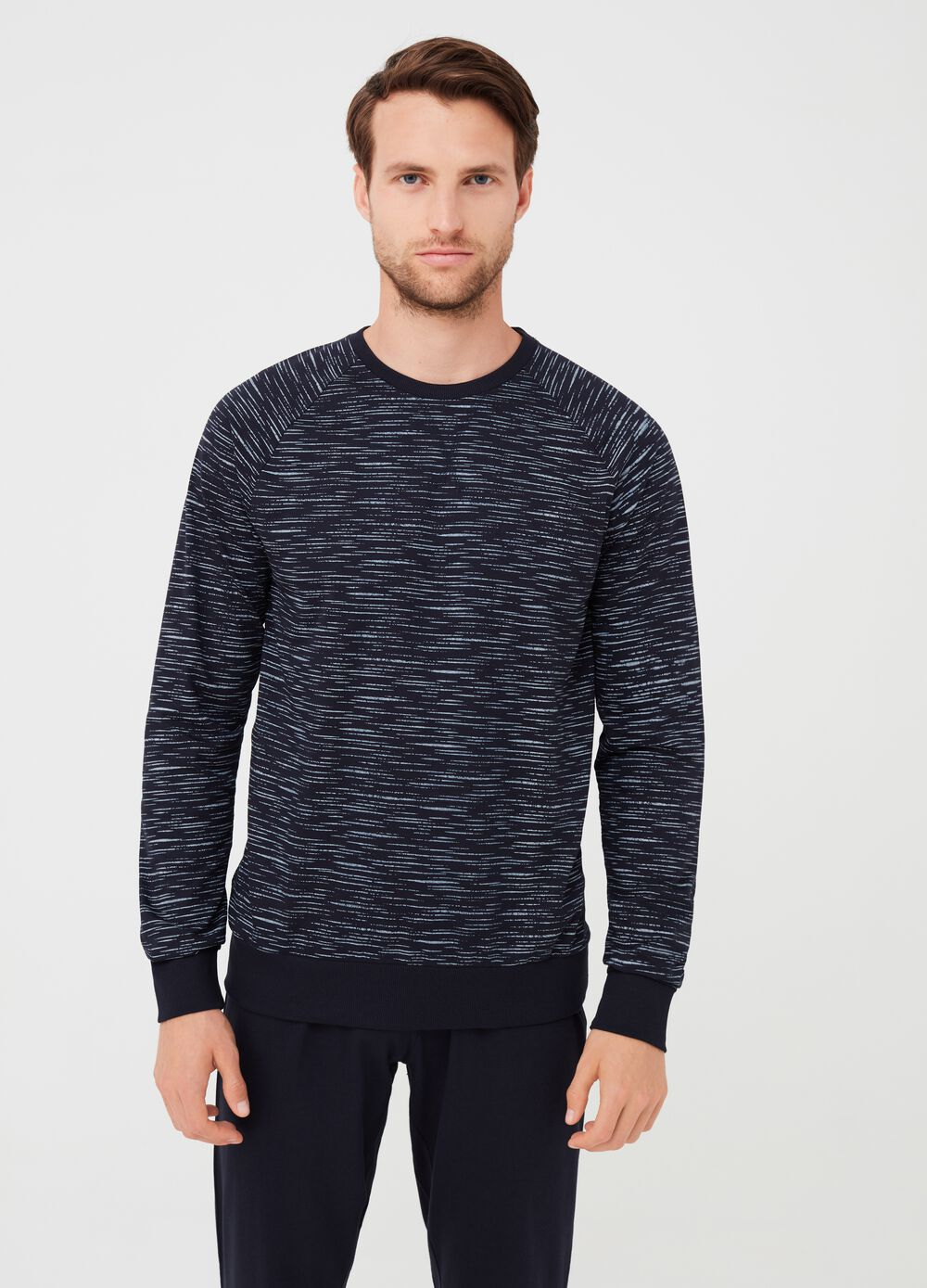 Round neck pyjamas with top and trousers