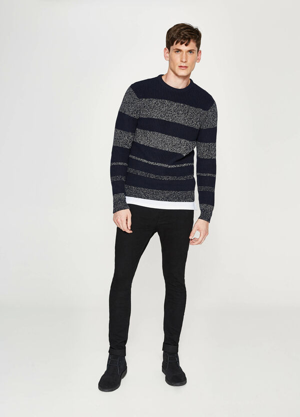 Striped patterned cotton pullover