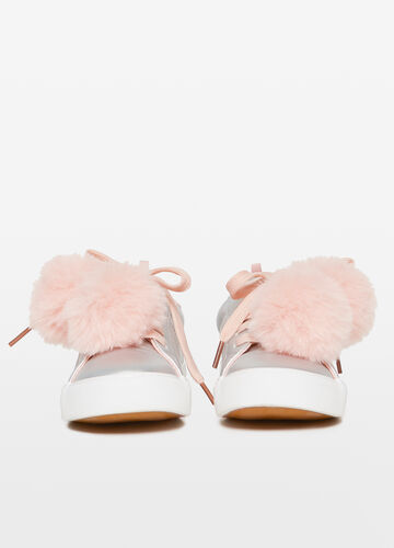 Shiny sneakers with pompoms