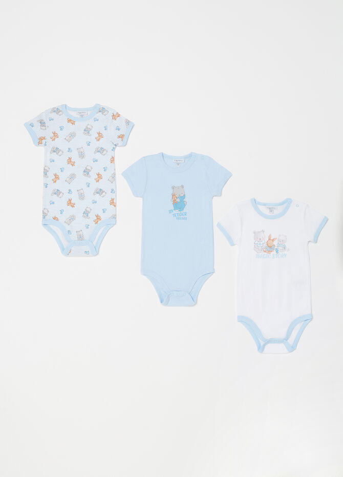 Three-pack short sleeved bodysuits in 100% cotton
