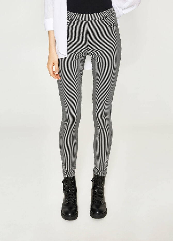 Stretch jeggings with striped pattern