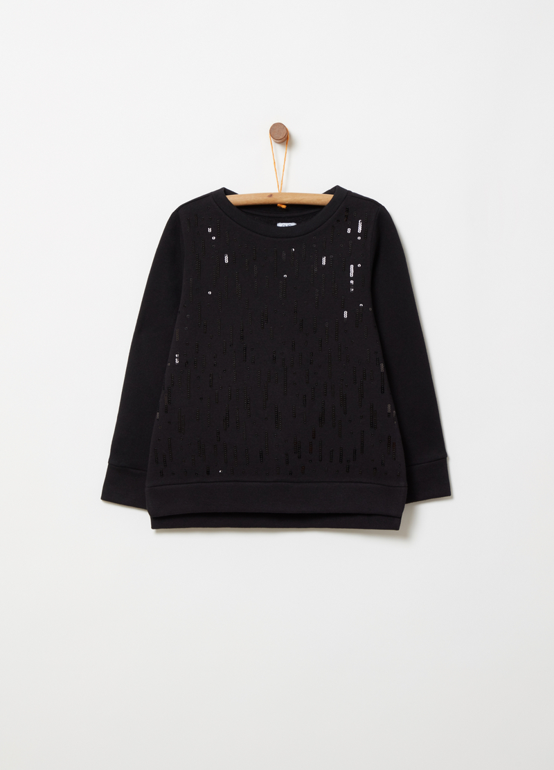 Sweatshirt with embroidery covered in sequins image number null