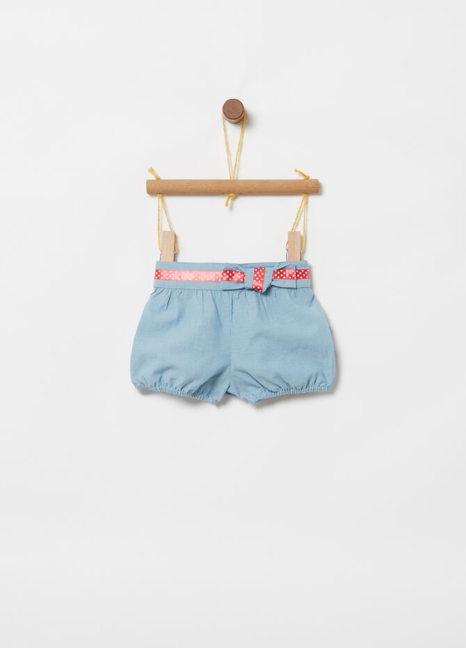Shorts in chambray BCI fusciacca nastro