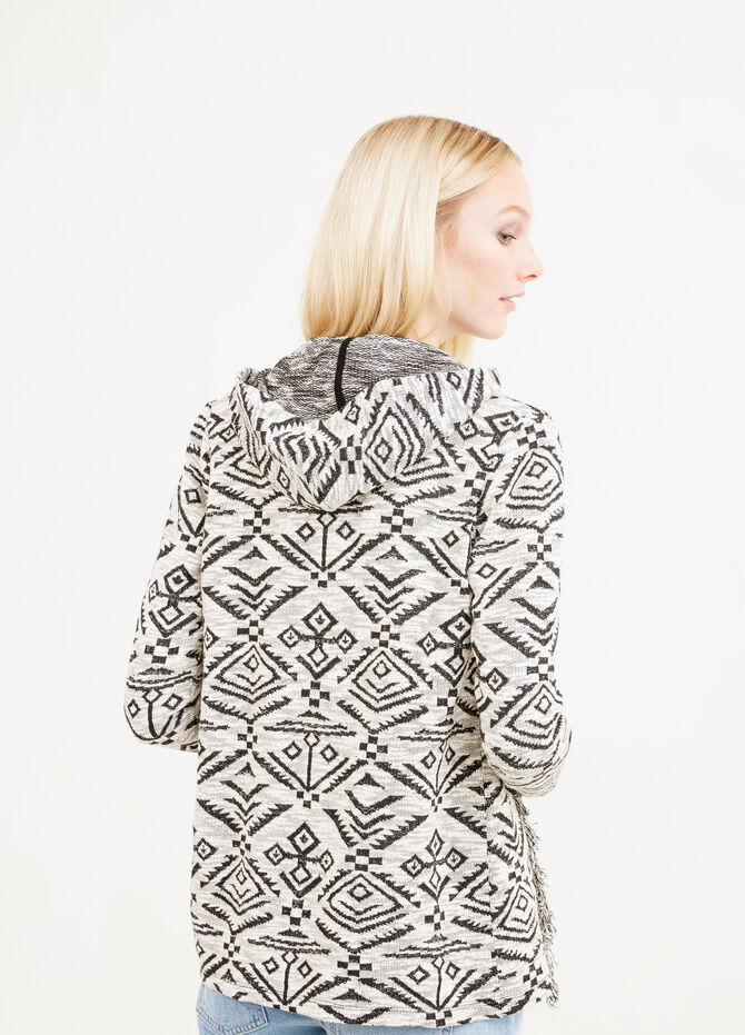 Geometric patterned sweatshirt with fringes