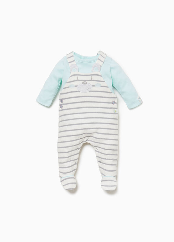 Striped cotton T-shirt and dungaree set