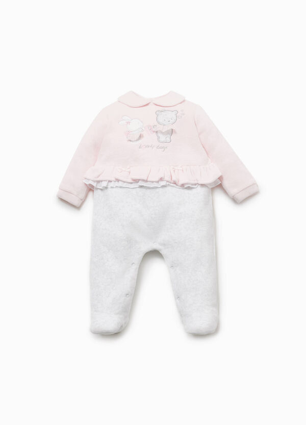 Cotton blend onesie with animal patch