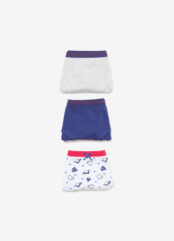 Three-pair pack solid colour and hearts stretch French knickers