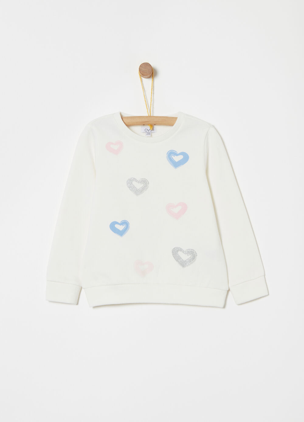 Cotton sweatshirt with glitter details and print