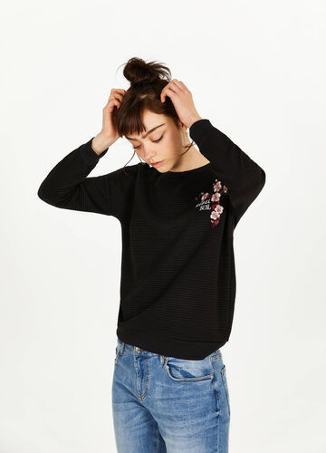 Cotton sweatshirt with striped weave and print
