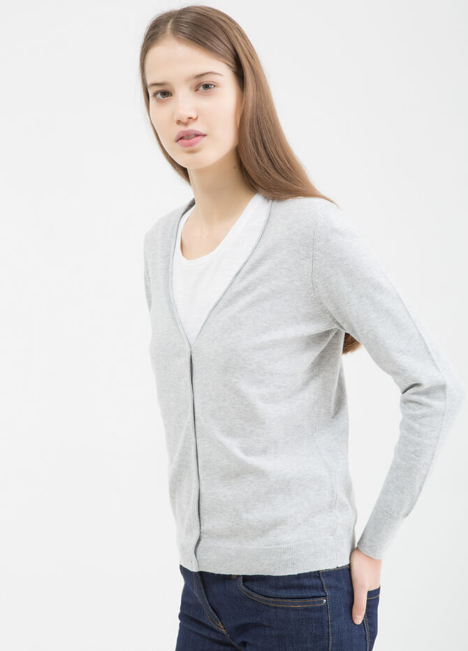 V-neck cotton blend cardigan