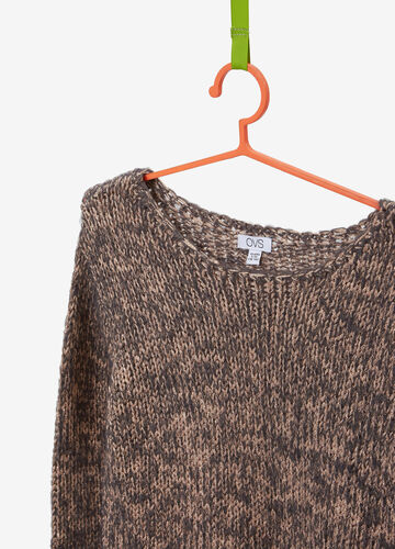 Mohair blend pullover with mélange lurex