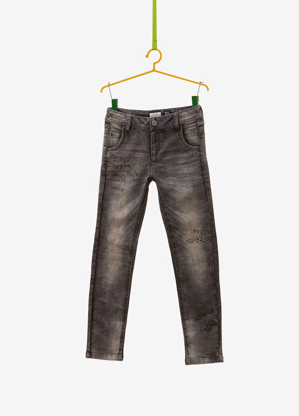 Slim-fit, misdyed stretch jeans with print