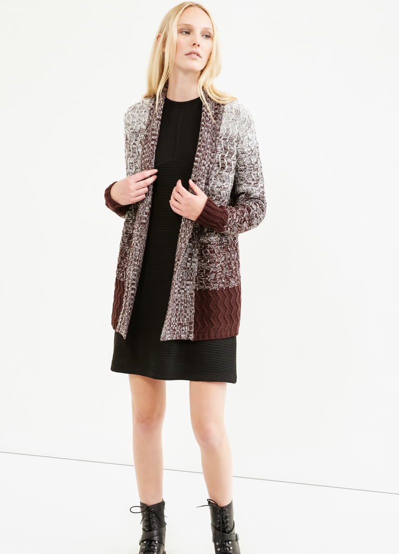Long cardigan with striped pattern image number null