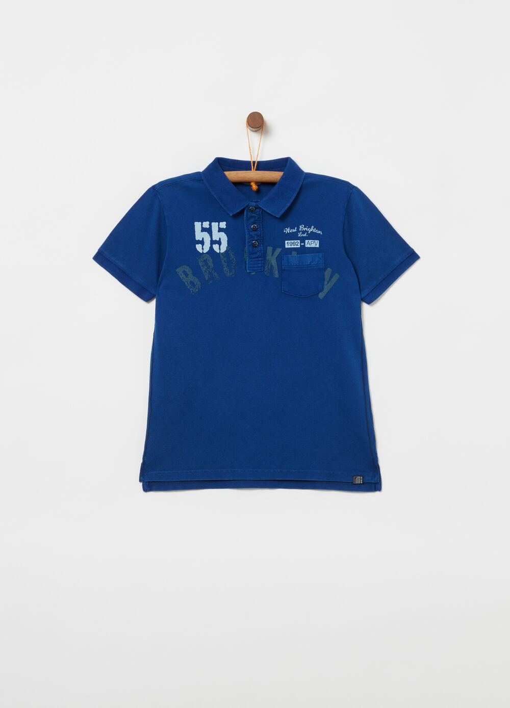 Piqué polo shirt with poplin details and print