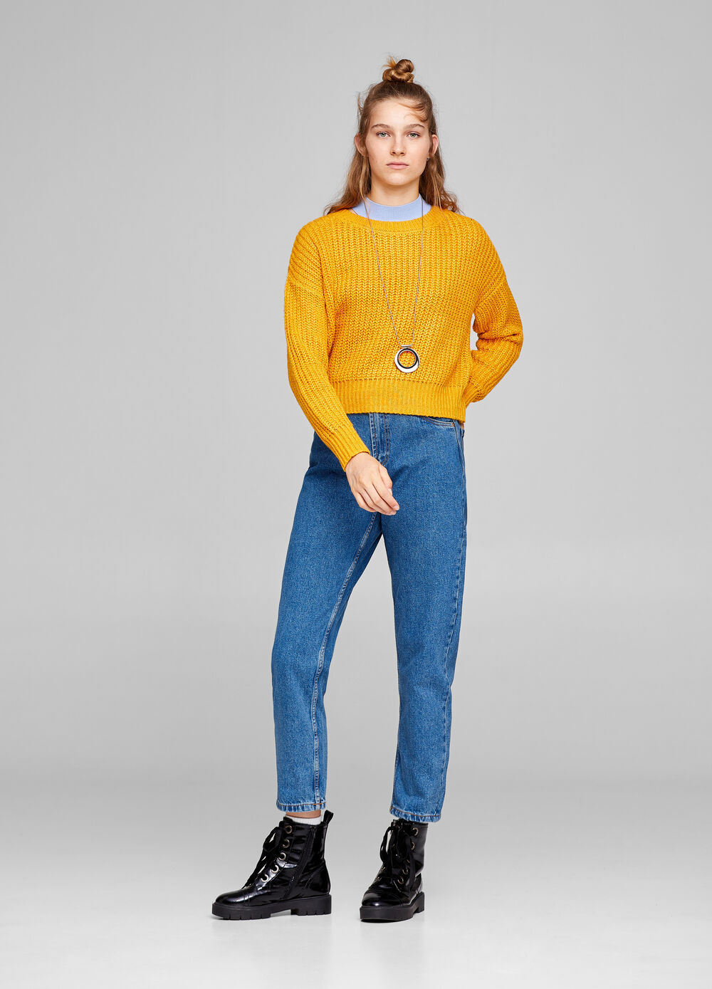 Solid colour boxy pullover