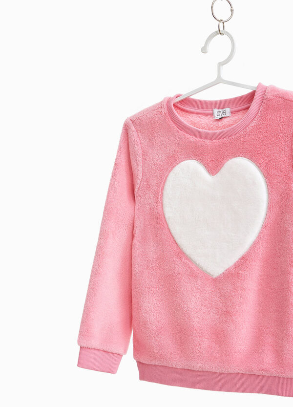 Leather-look sweatshirt with heart patch