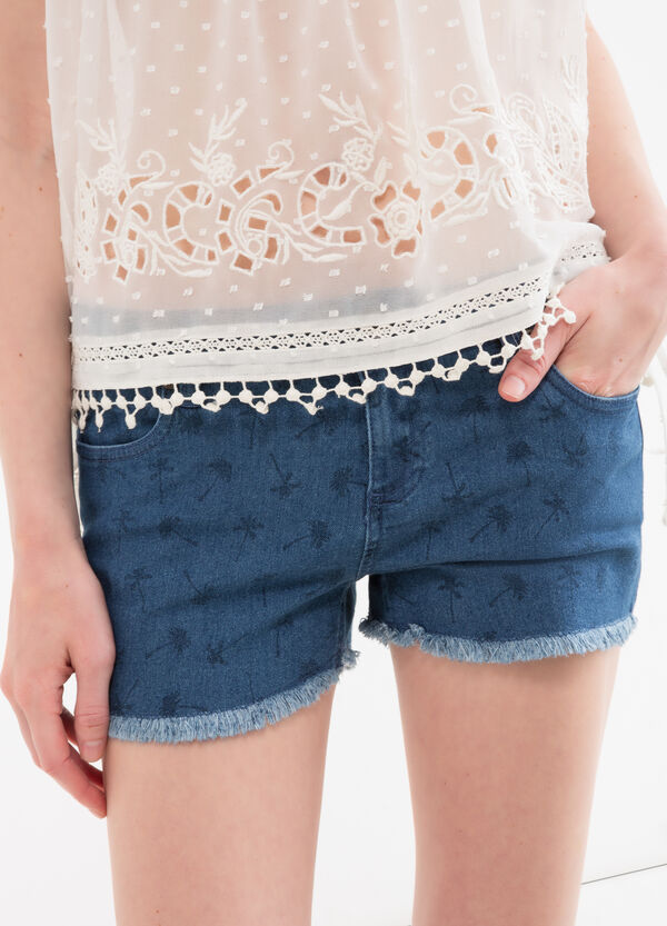 Shorts di jeans stretch stampa