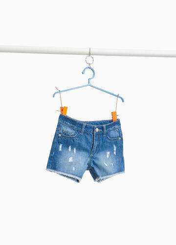 Worn-effect denim shorts with rips