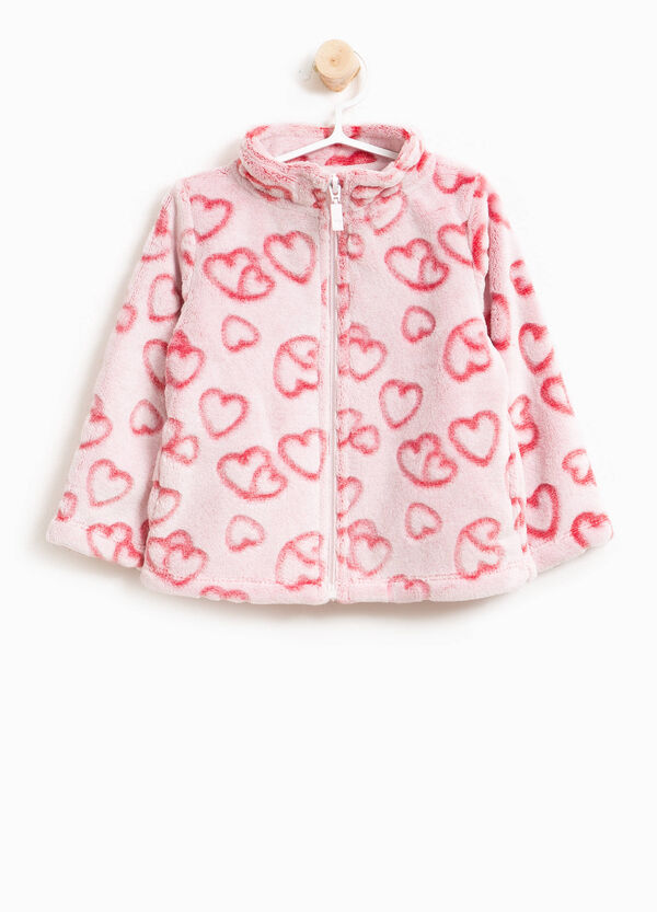 Heart patterned faux fur sweatshirt