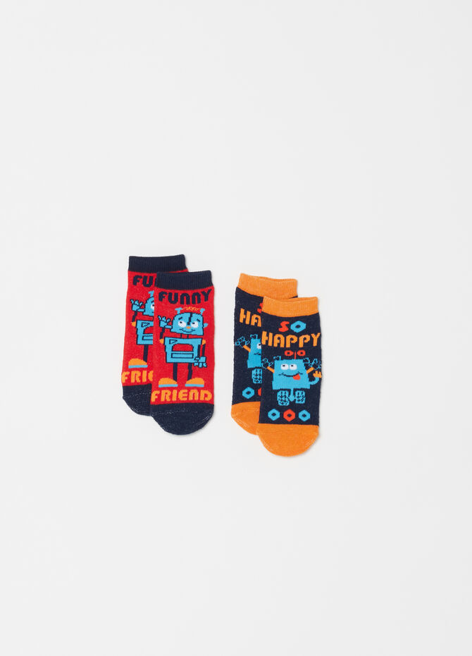 Two-pair pack short socks with Robot motif embroidery