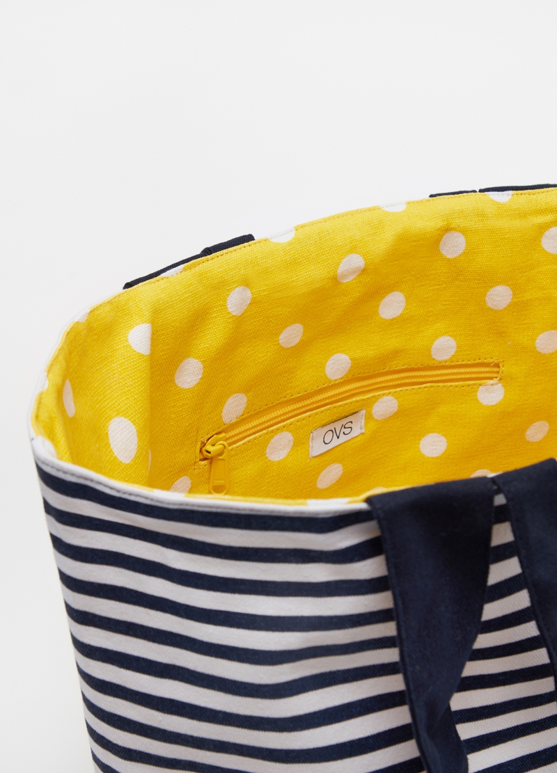 Striped and polka dot beach bag image number null