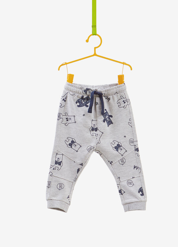 Mélange trousers with teddy bear pattern