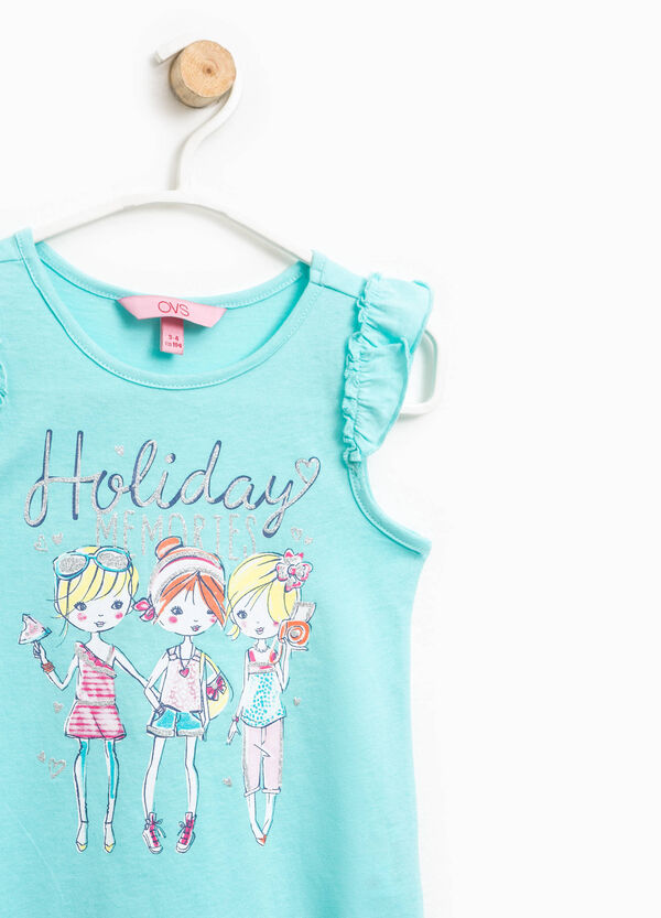 Cotton top with glitter print | OVS