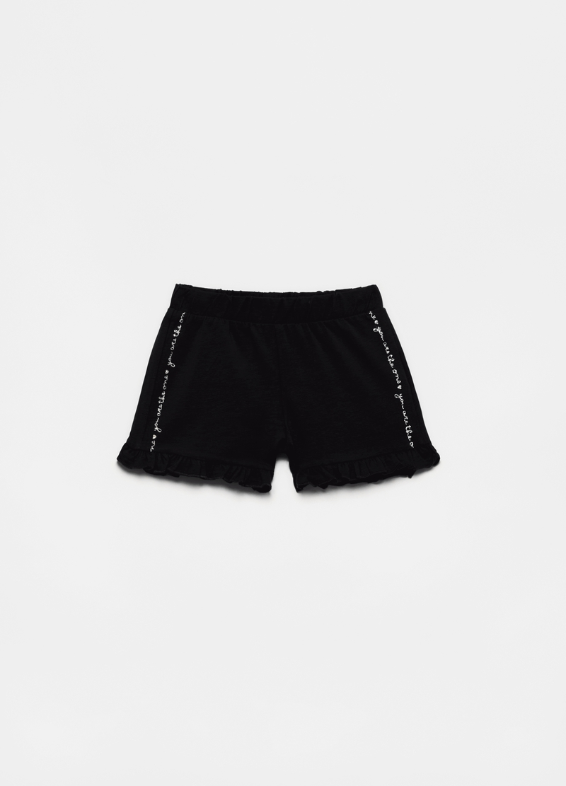 Jersey shorts with frills and print image number null