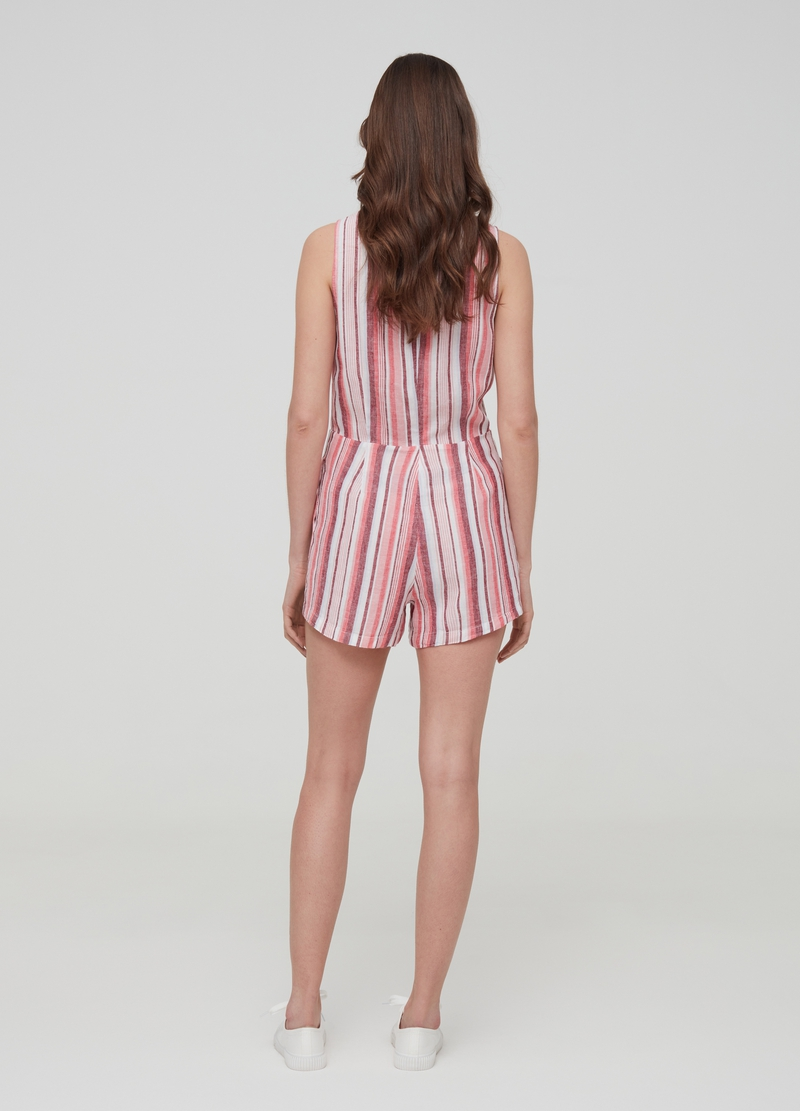 Striped playsuit in linen and viscose image number null