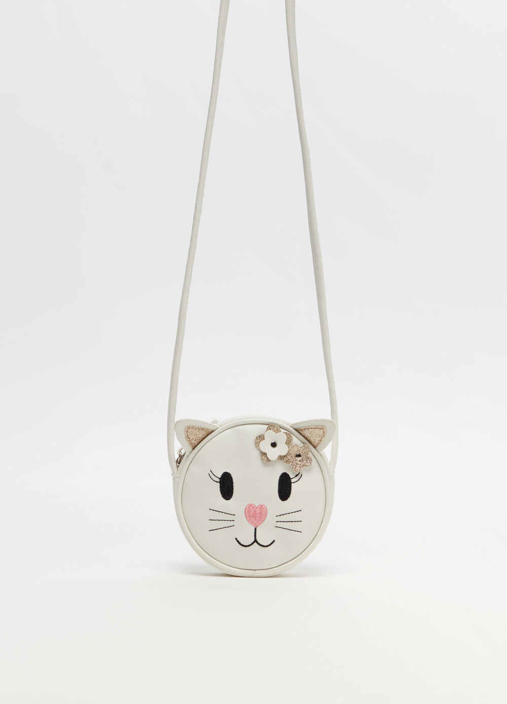 Shoulder bag with kitten and applications