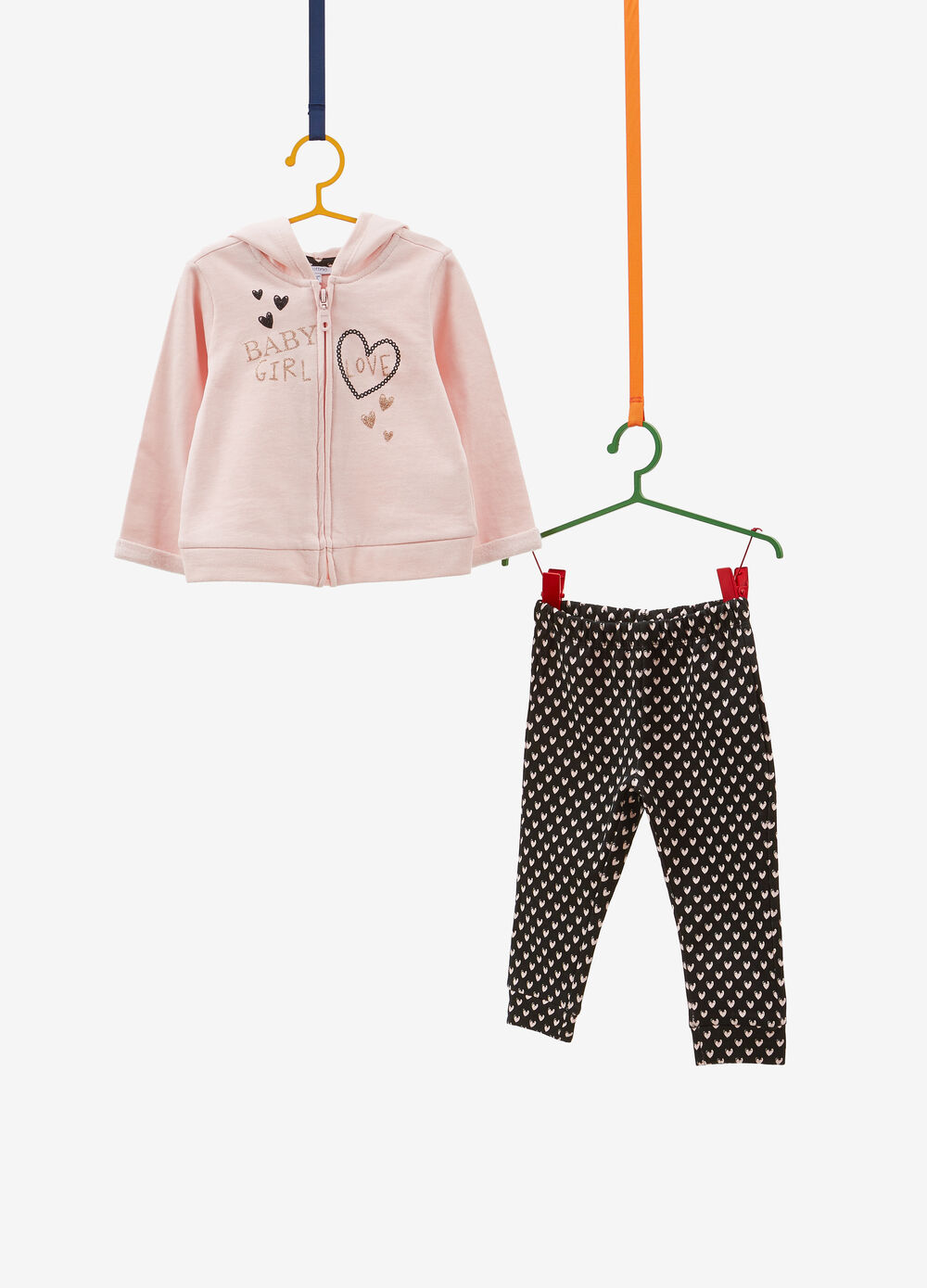 Cotton tracksuit with lettering and glitter hearts print