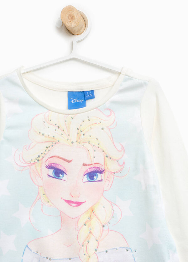 Stretch cotton Frozen T-shirt with diamantés | OVS