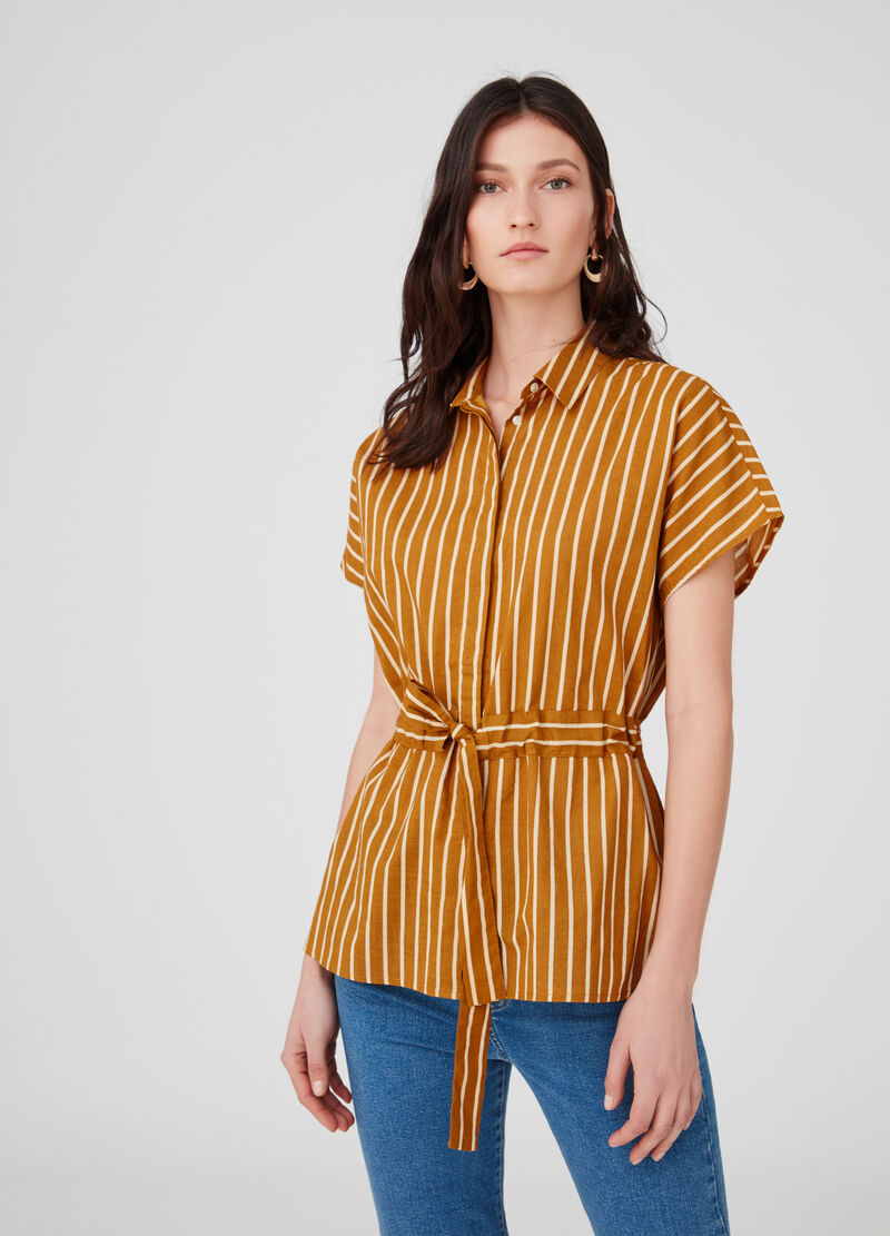 Blusa lunga con coulisse a righe