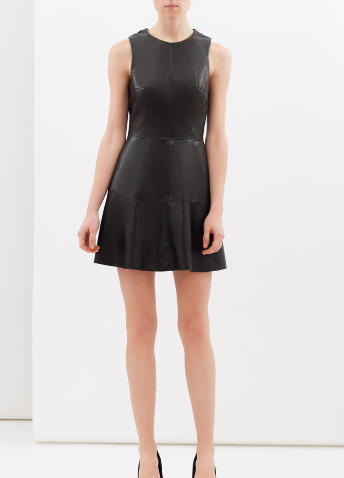Short sleeveless leather look dress