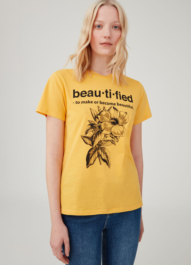 Cotton T-shirt with Earth Day lettering print