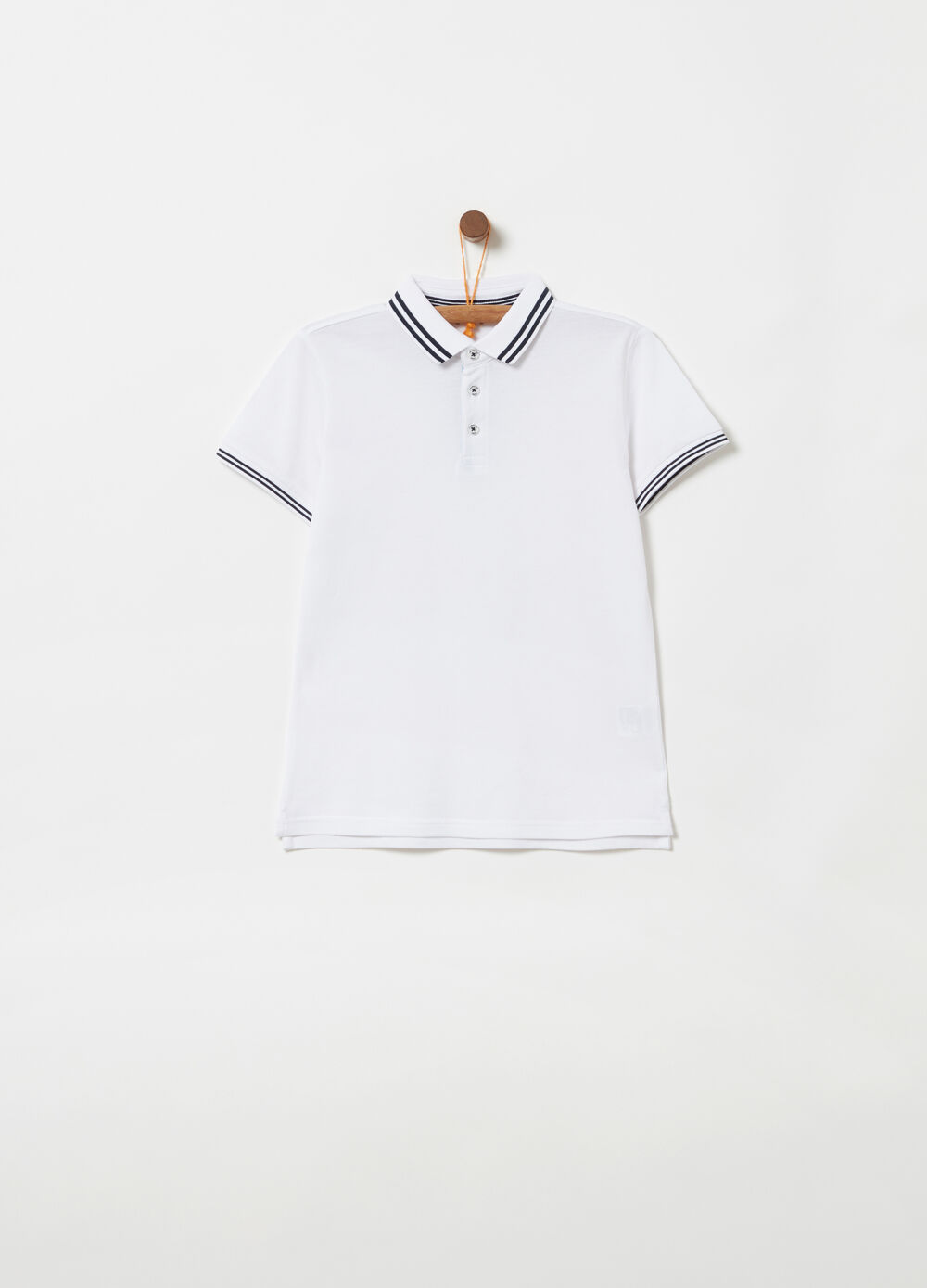 Piquet polo shirt with ribbing and striped details
